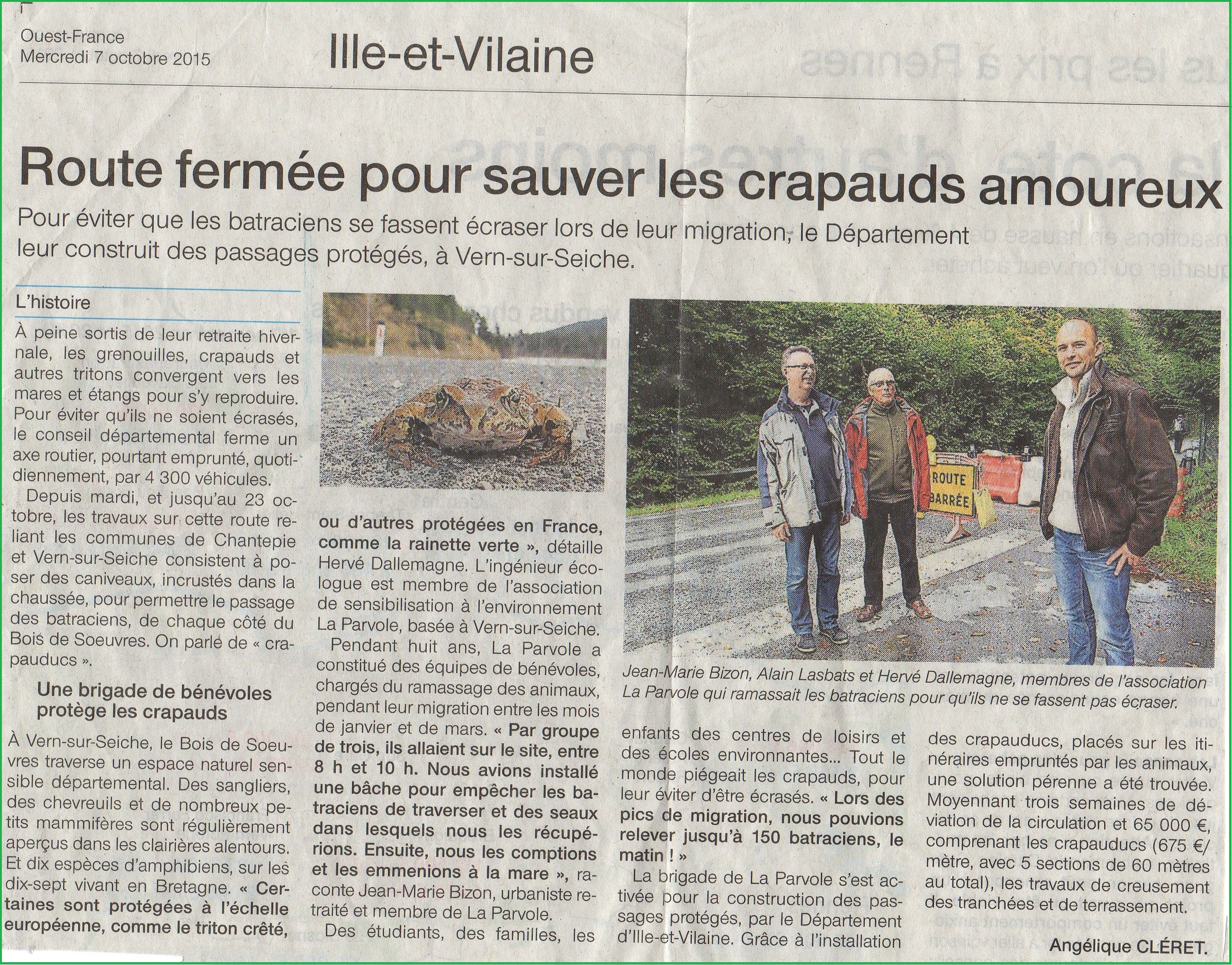 article crapauduc SVT action de l'homme