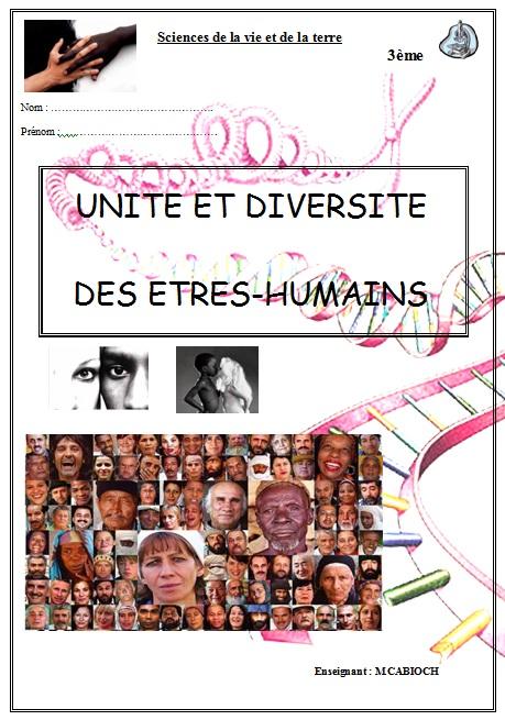 unité et diversité des êtres humains SVT 3ème