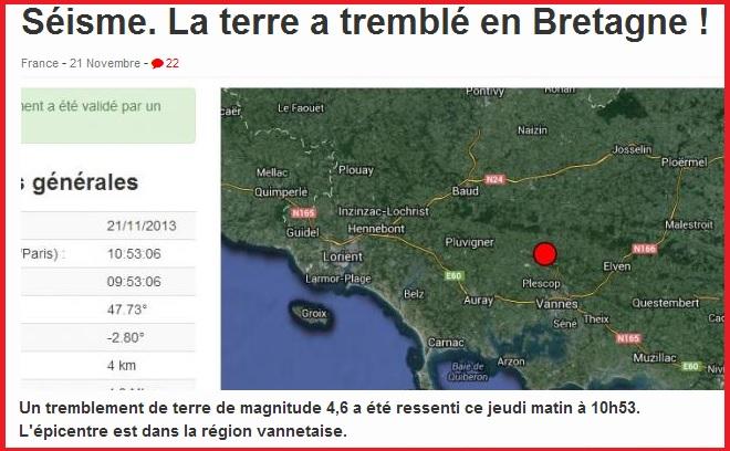 ouest France Tremblement de Terre 2013 Bretagne