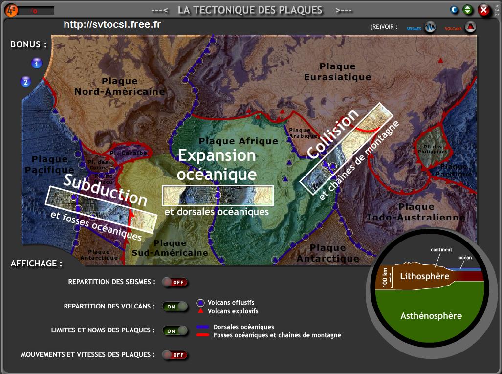 application sur la tectonique des plaques SVT