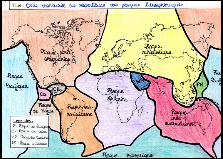 carte mondiale des principales plaques lithosphériques SVT