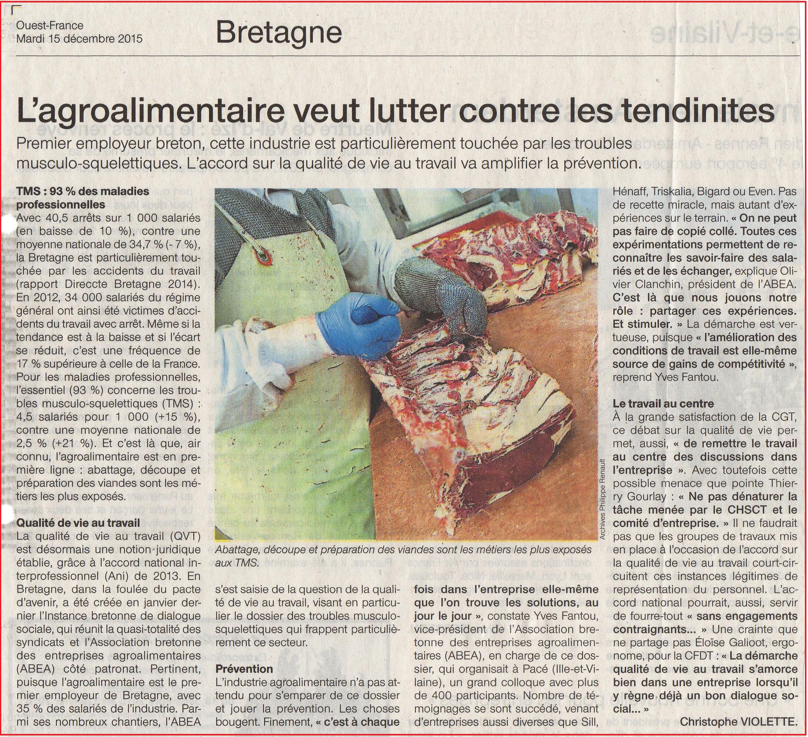 tendinite en Bretagne Préserver sa santé SVT article Ouest France