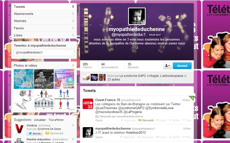 compte twitter myopathie de Duchenne