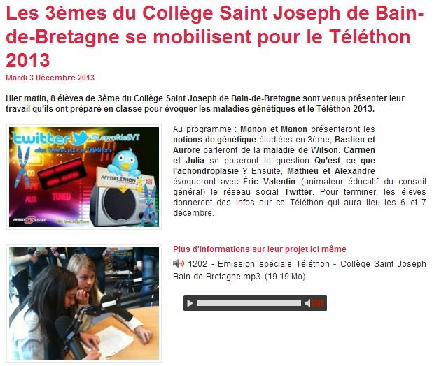radio laser Téléthon 2013