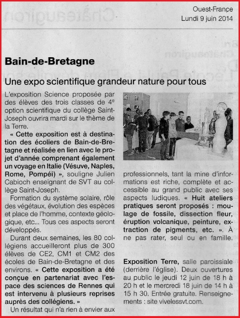 article Ouest France expo 2014