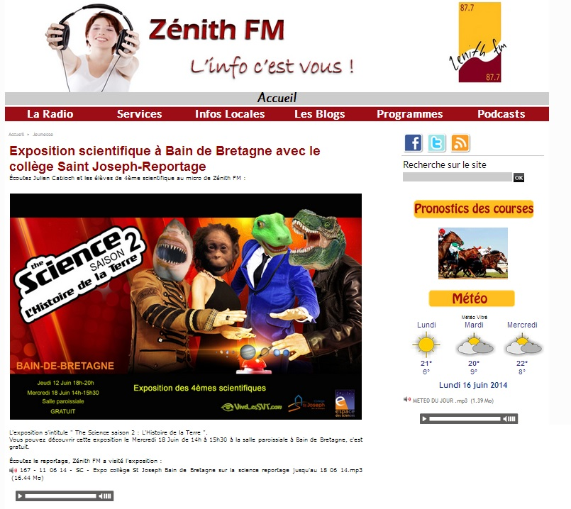 zénith FM Article expo science 2014