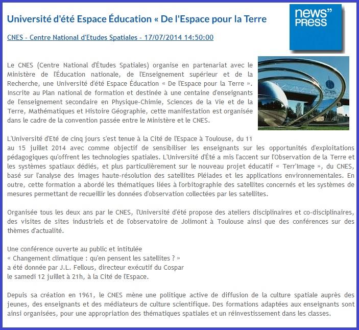 article de presse UE Espace Education