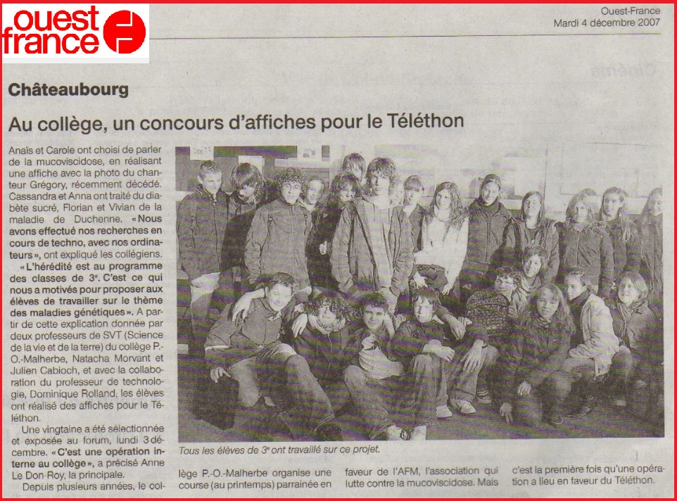Article Ouest France collège Pierre Olivier Malherbe Châteaubourg SVT