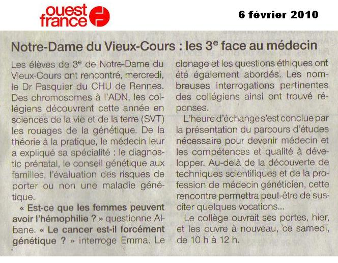 Généticien Ouest France collège Notre Dame du Vieux Cours Rennes SVT