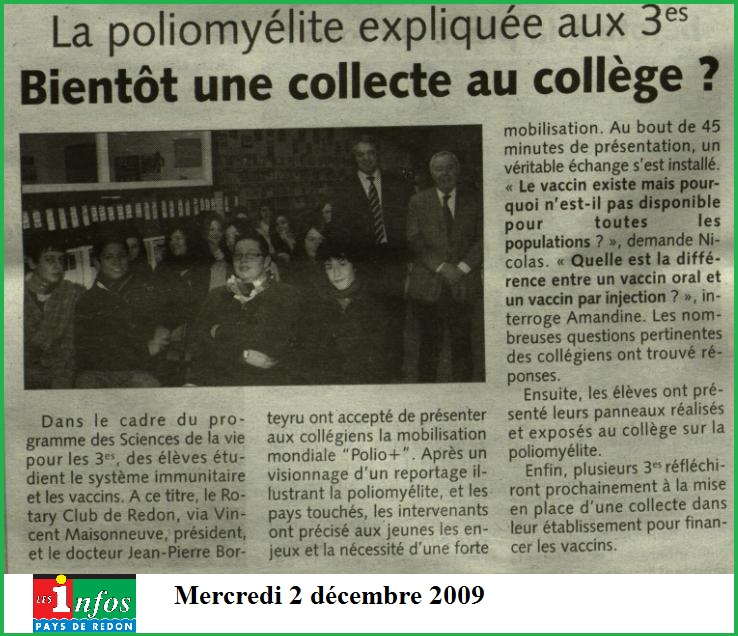 Infos pays de redon collège Pipriac Polio