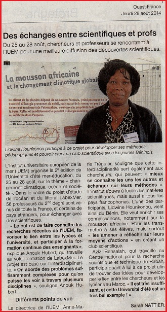 article Ouest France Mer Education