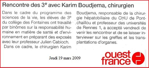 article ouest France Karim Boudjema au collège La Guerche de Bretagne
