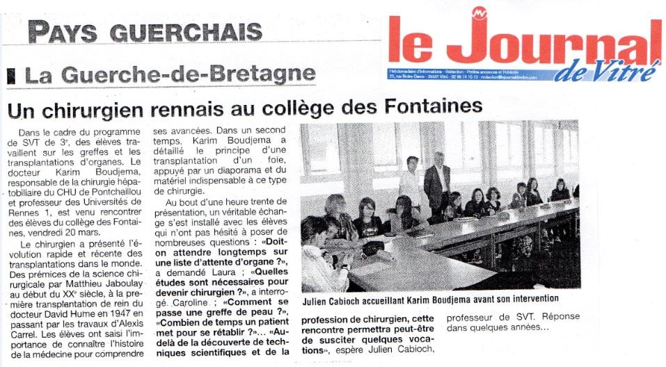 chirurgien rennais au collège Des Fontaines La Guerche de Bretagne