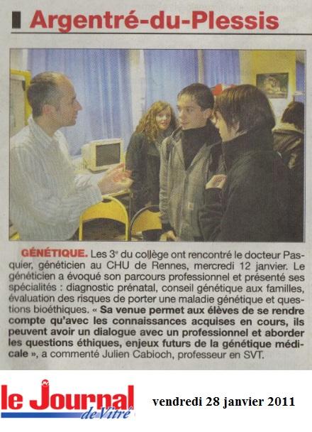 geneticien journal de vitré collège La salle Saint Joseph Argentré du Plessis