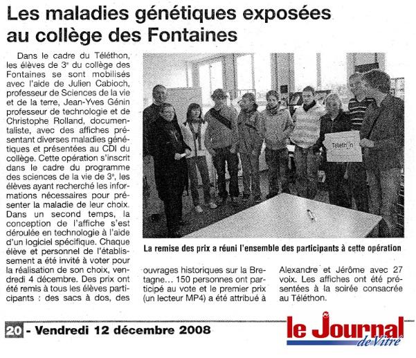 journal de Vitré Téléthon collège Des Fontaines La Guerche de Bretagne SVT