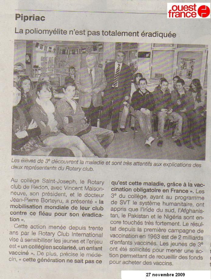 ouest france SVT 3eme collège Saint Joseph Pipriac