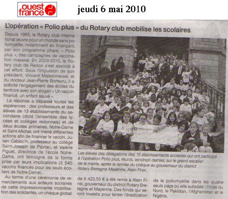 Article Ouest France polio SVT
