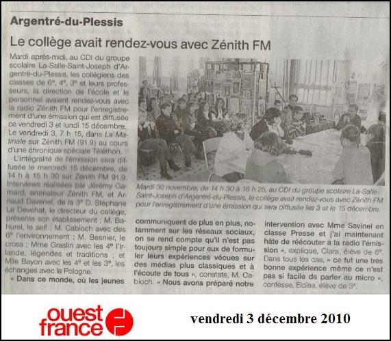 ouest france zenith fm collège La Salle Saint Joseph Argentré du Plessis