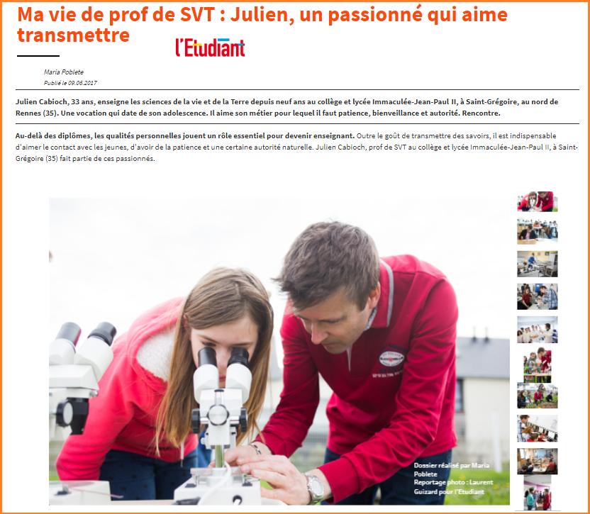 Julien Cabioch enseignant de SVT - Saint grégoire collège lycée