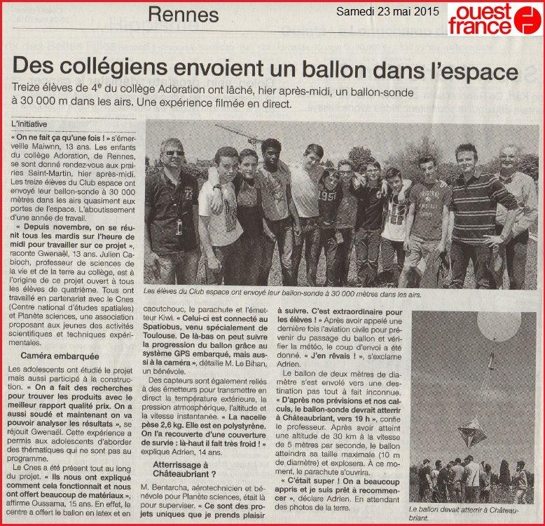 article Ouest France ballon sonde espace collège Rennes Cabioch