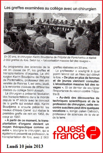 article Ouest France chirurgien Karim Boudjema