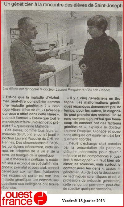 article Ouest France généticien