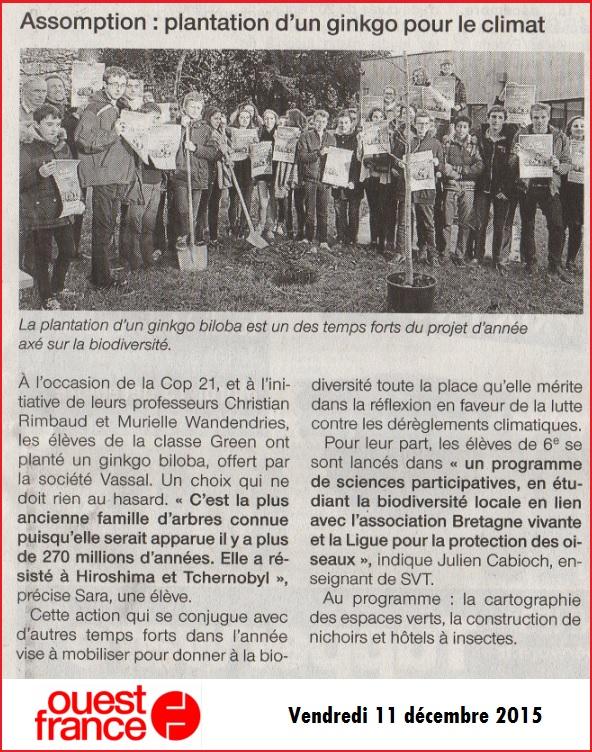 cop 21 Ouest France SVT Julien Cabioch biodiversité