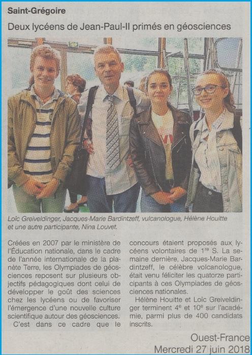 géosciences académie rennes SVT lycée Jean Paul II Saint Grégoire