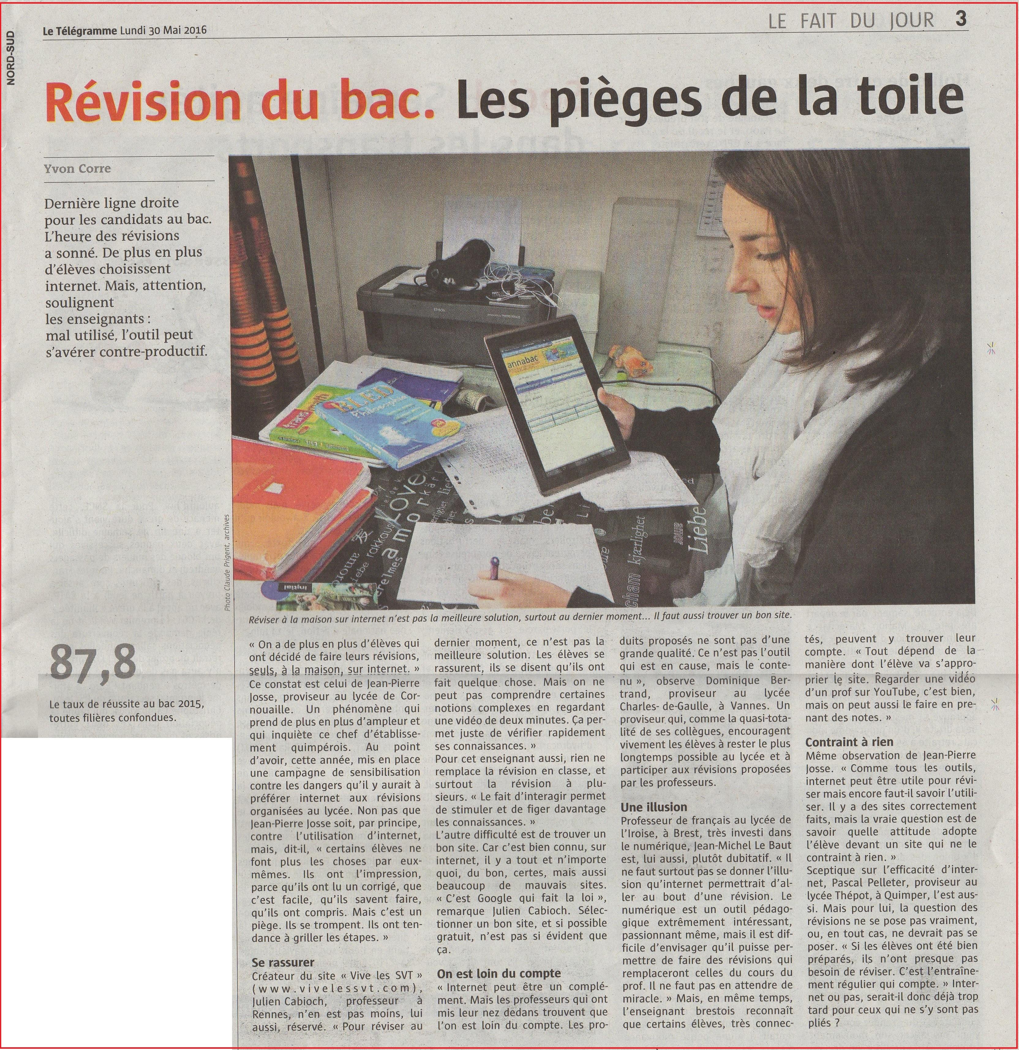 révisions Bac SVT Le Télégramme Julien Cabioch