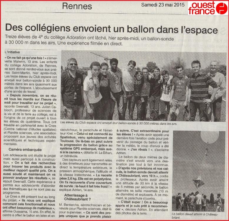 ballon sonde collège Adoration Rennes Article Ouest France