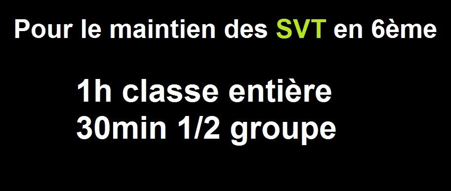 pour le maintien des SVT en 6ème