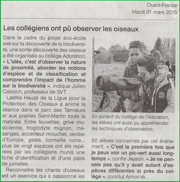 LPO collège Adoration Ouest France