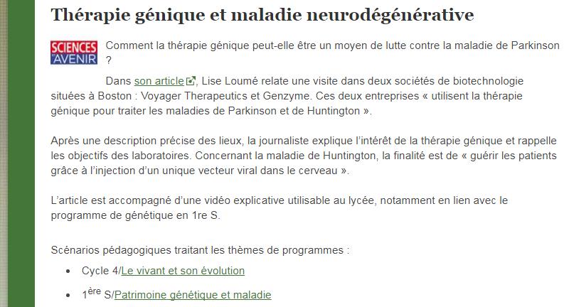 Thérapire génique et maladie neurodégénérative SVT