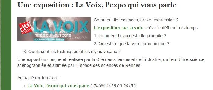 exposition la Voix SVT Article Cabioch Julien