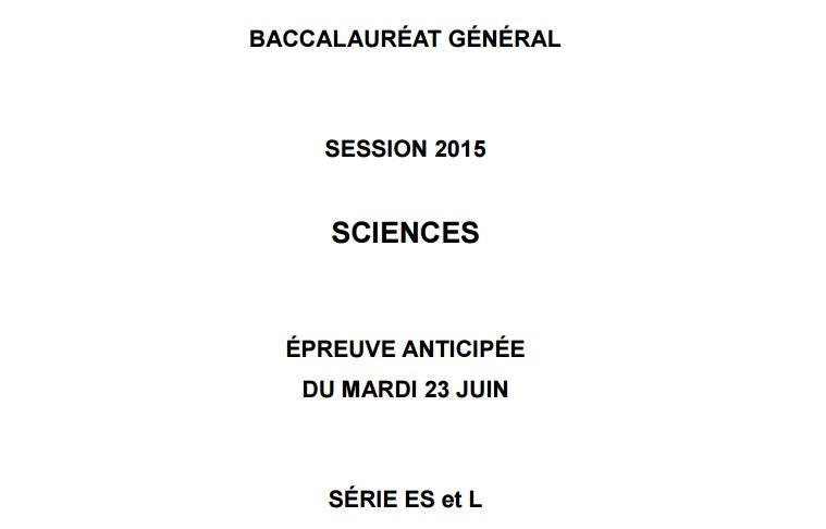 BAC ES L SVT épreuves anticipées sujet 2015