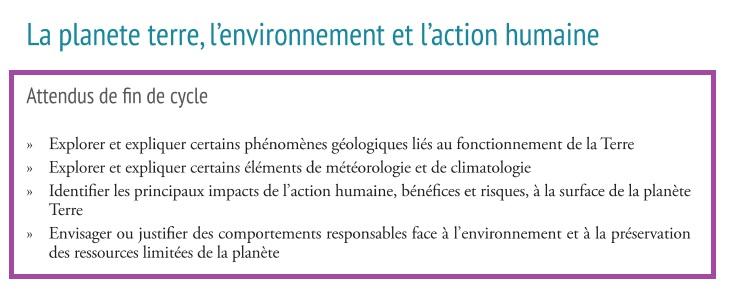 fin de cycle SVT planète Terre phénomènes géologiques nouveaux programmes