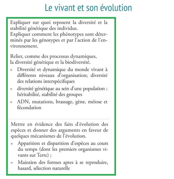 le vivant et son évolution biodiversité organismes nouveaux programmes SVT