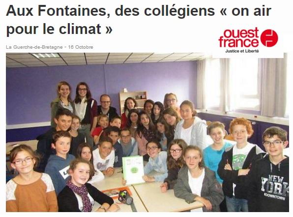 Ouest France Cop 21 Collège des Fontaines La Guerche de Bretagne climat
