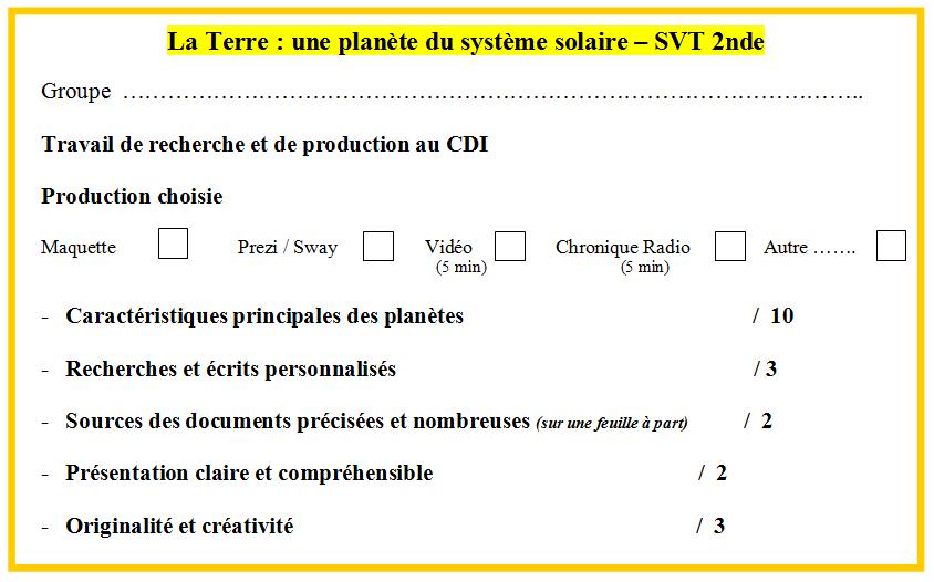 grille évaluation planète Terre système solaire SVT 2nde