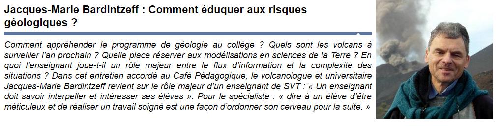 éduquer aux risques géologiques Jacques Marie Bardintzeff Julien Cabioch Café Pédagogique