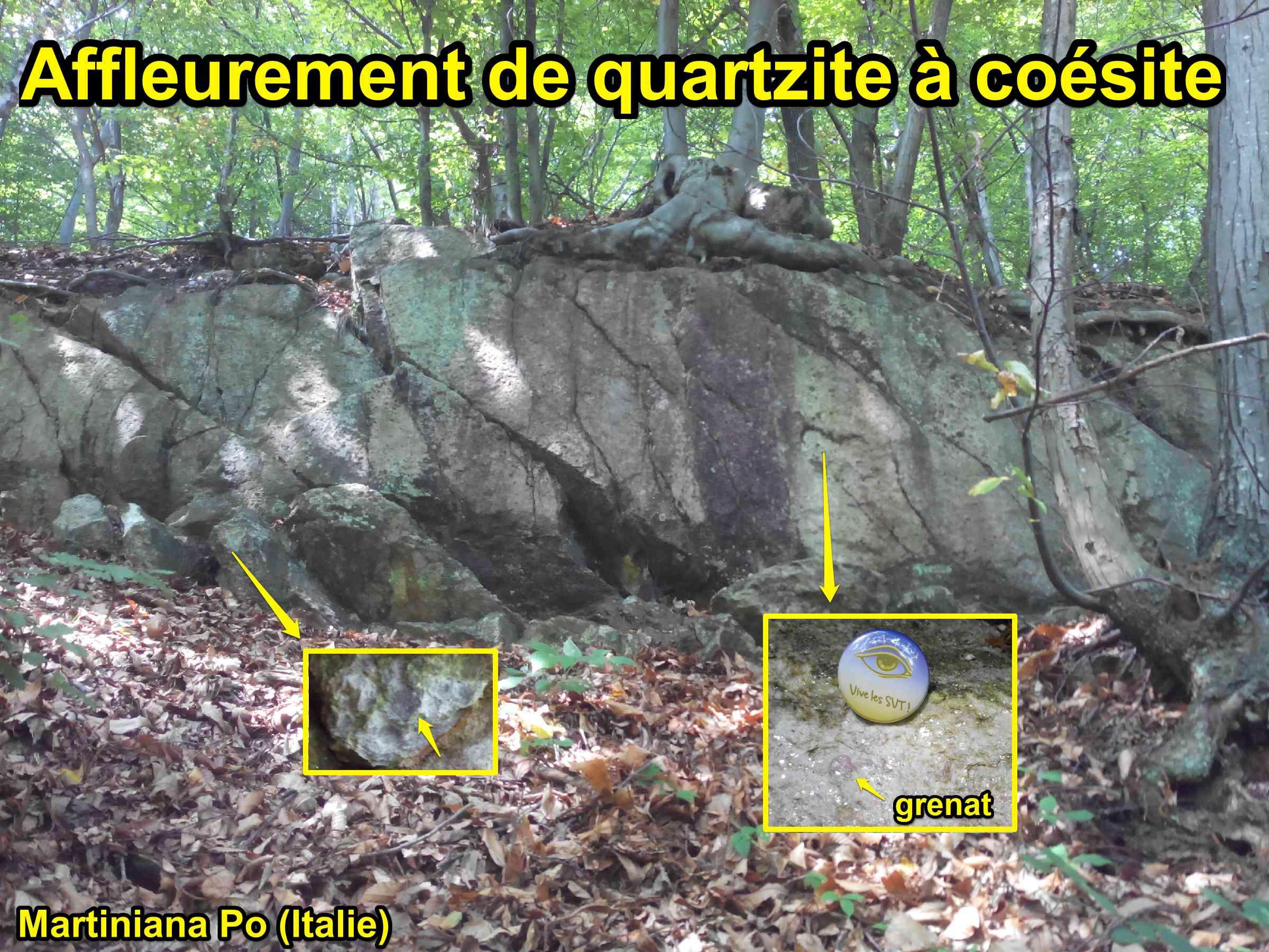 Affleurement quartzite coésite Dora Maira Italie haute pression métamorphisme