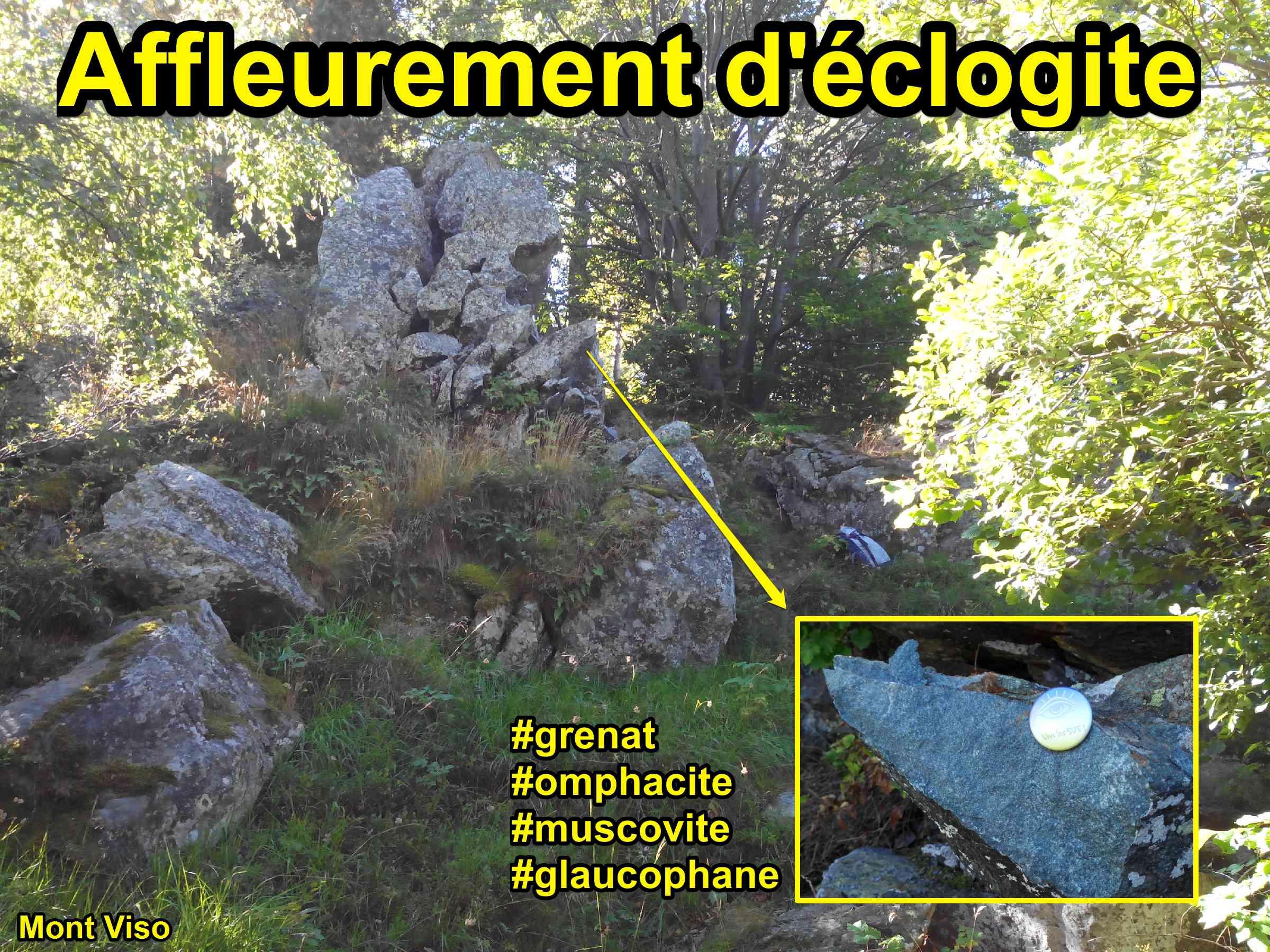 affleurement éclogite grenat omphacite mont Viso glaucophane muscovite