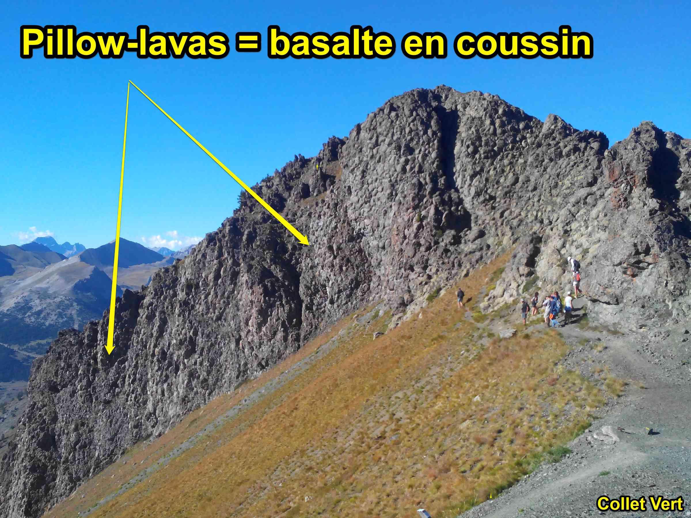 basalte en coussin pillow lava collet vert Alpes