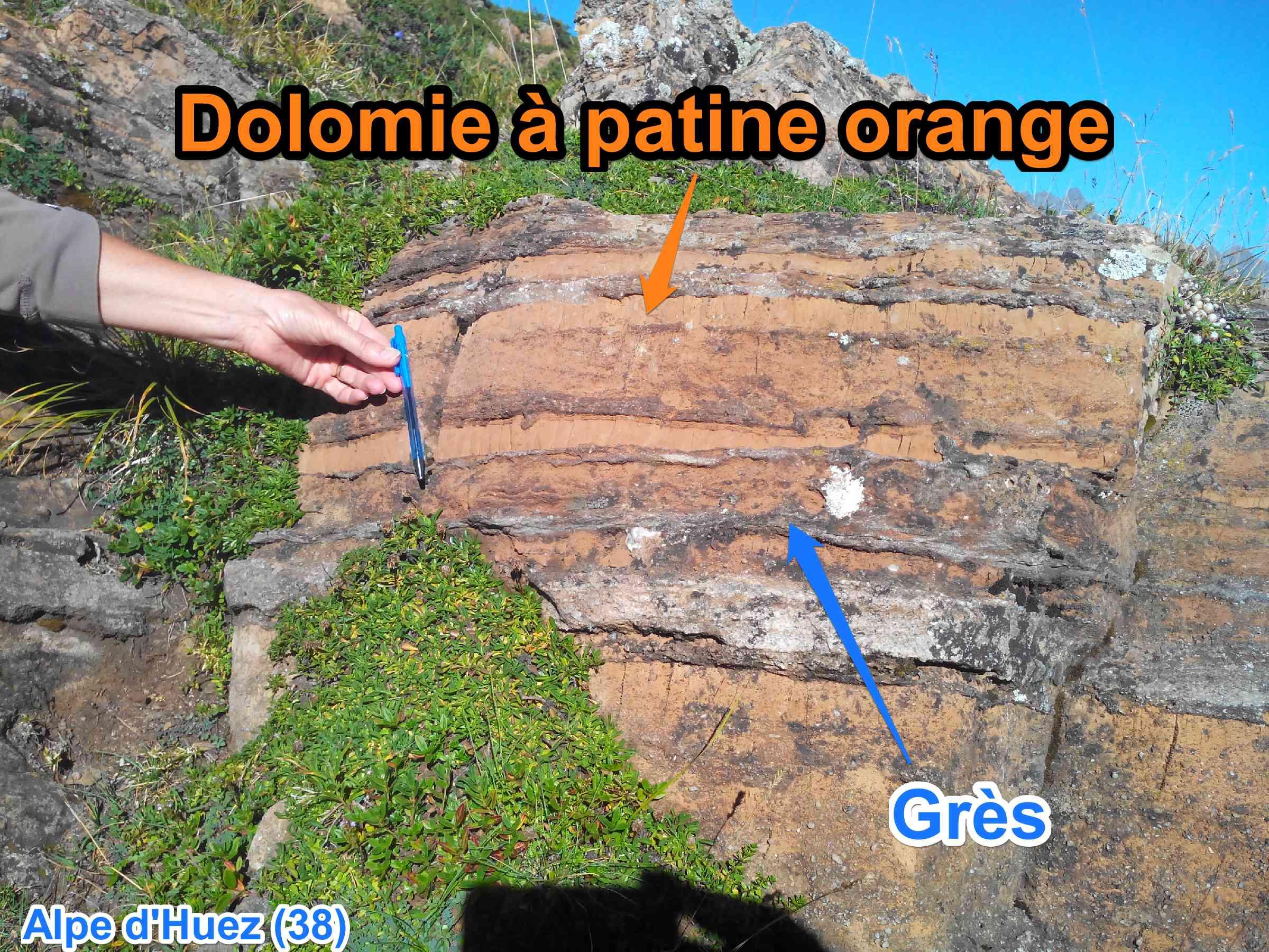 dolomie à patine orange grès Alpe dHuez
