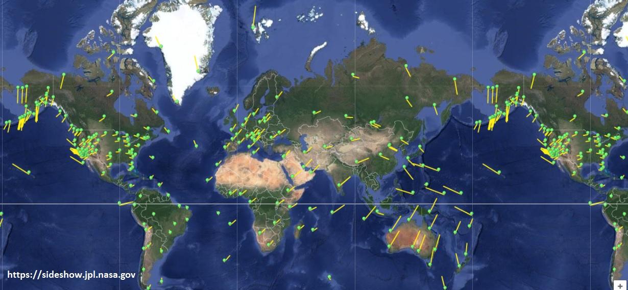carte déplacement des plaques GPS géodésie