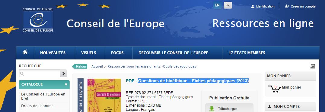 conseil de l'Europe SVT fiche bioéthique
