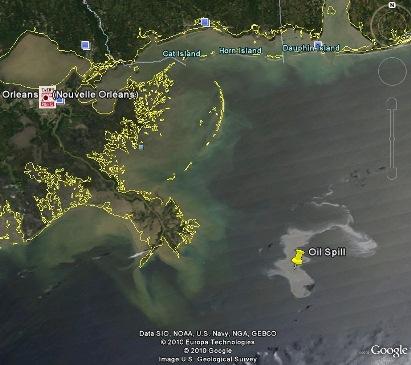 La nappe de pétrole dans Google Earth