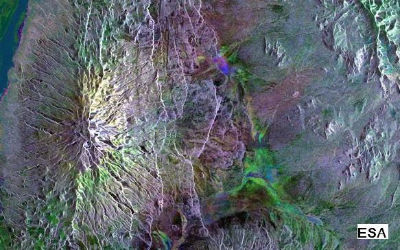 Les laves de la Montagne des Dieux vues de l'espace