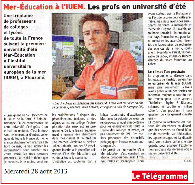 université été Mer education Telegramme Brest