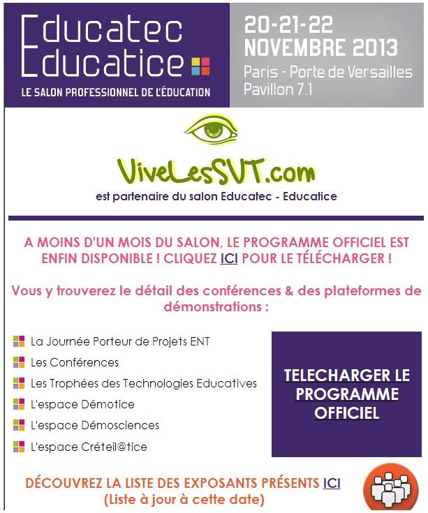 vivelesSVT partenaire salon éducatec éducatice
